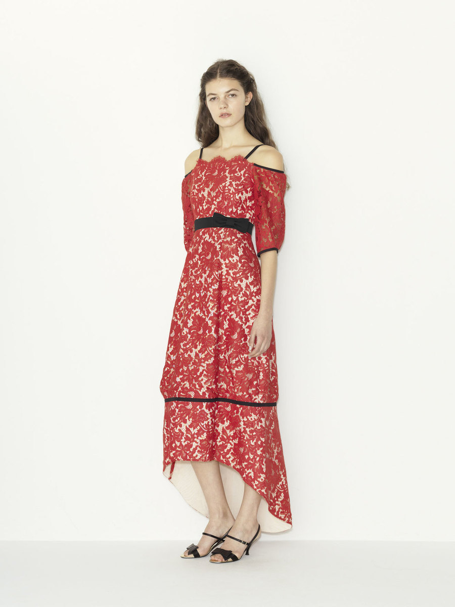 red lace x grosgrain ribbon tail cut color dress