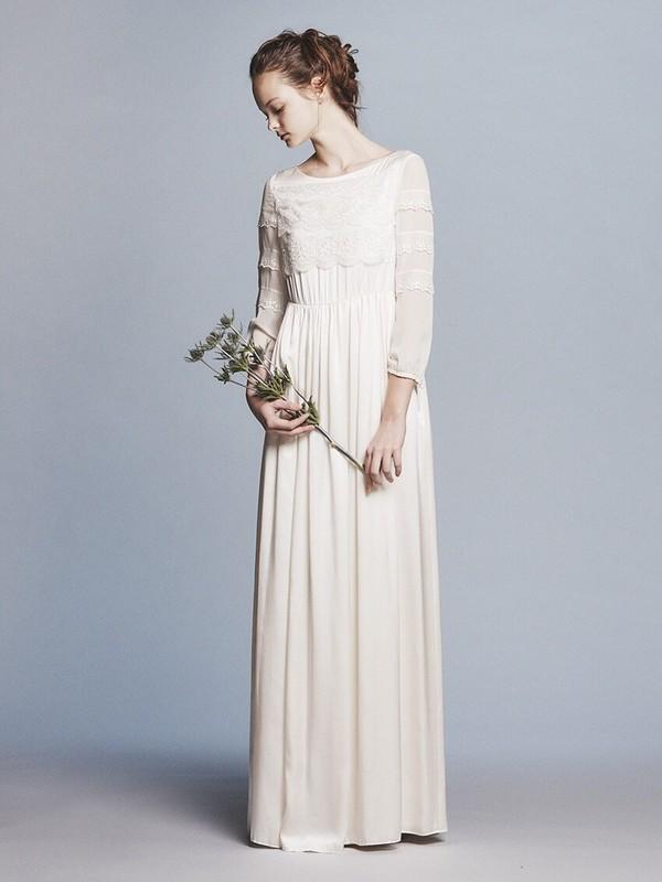 silk satin x lace L/S wedding dress