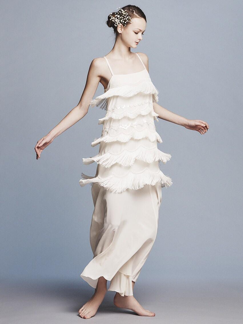silk de chin fringe dress