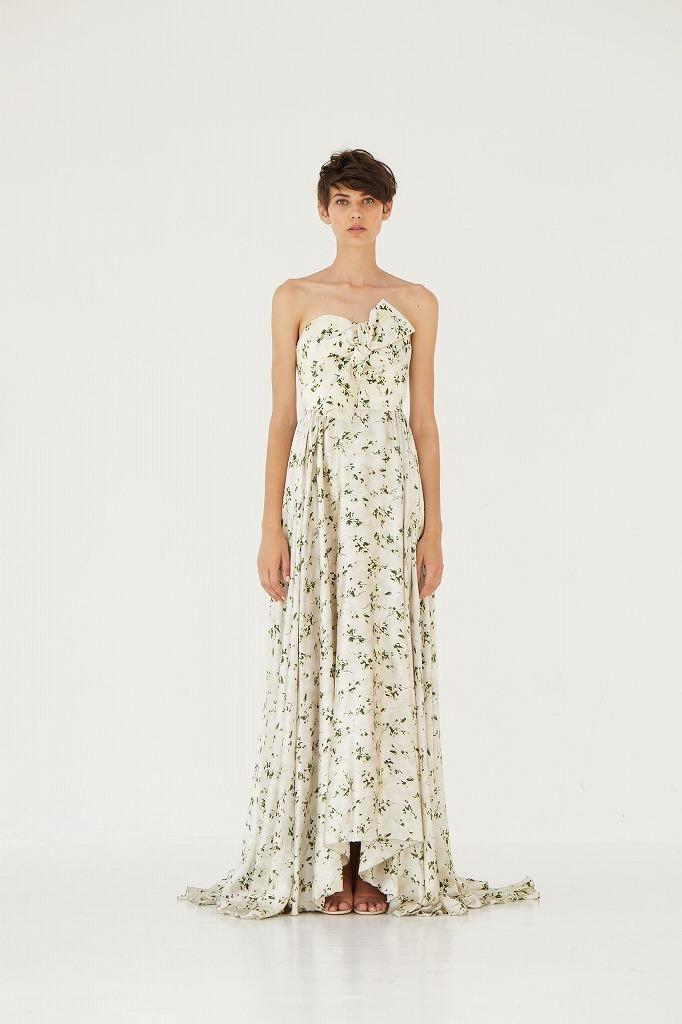 シルクサテンボタニカルプリントドレス