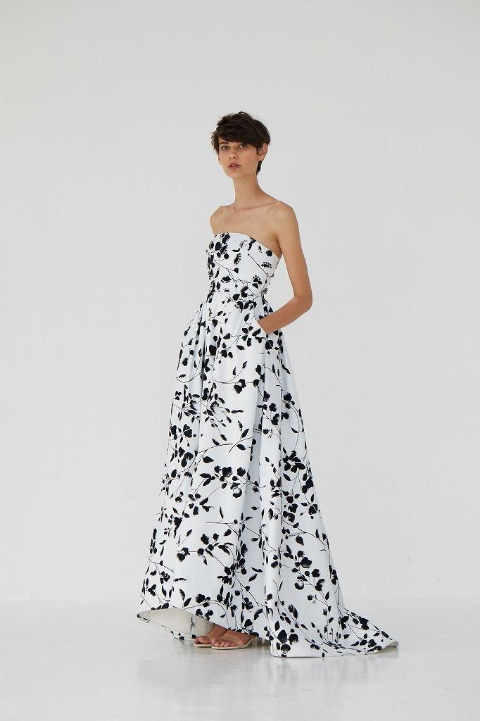 フロッキープリントカラードレス