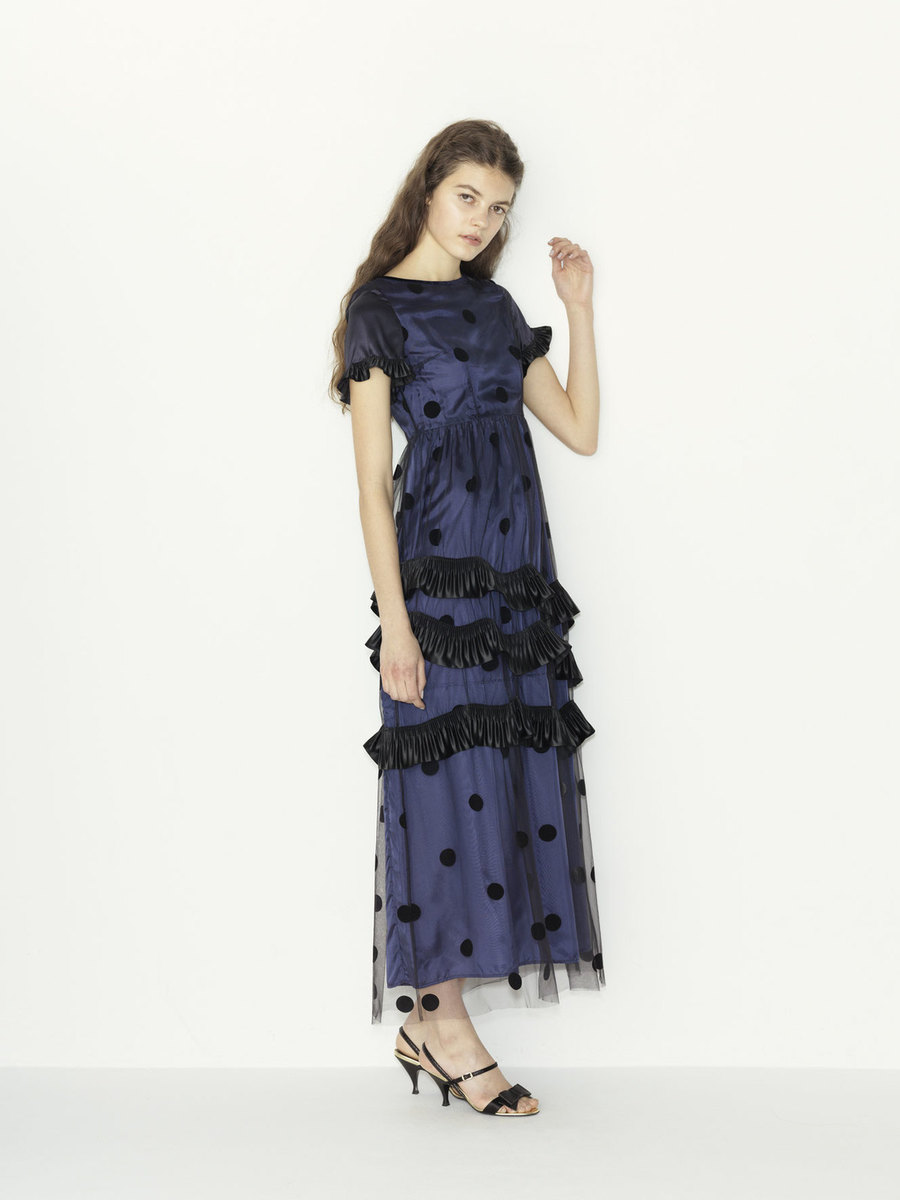 tulle dots x satin pleats ribbon color dress(セミオーダー)
