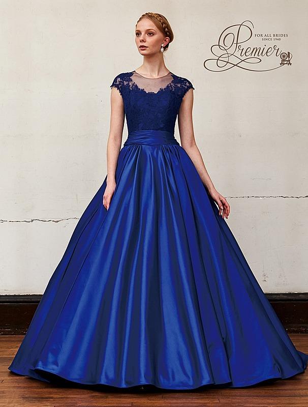 ロイヤルブルーカラ―のエレガントなドレス